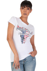 Women's Juniors Patriotic Casual Graphic Print Short Sleeve T-Shirt Top - DN2034