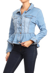 Women's Juniors Premium Denim Peplum Bodice Long Sleeve Jacket - JKT-108