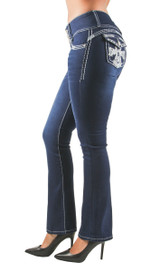 Women's Juniors Colombian Design, Butt Lift, Push Up, Mid Waist, Boot Leg Jeans - DJ3086-BT