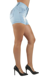 Women's Juniors Colombian Design, Butt Lift, Push Up, Ripped Booty Shorts - UR069-SH