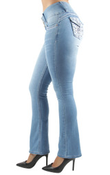 Women's Juniors Colombian Design, Butt Lift, Push Up, Mid Waist, Boot Leg Jeans - DJ3256-BT