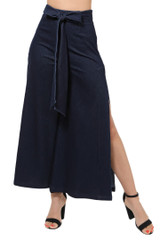 Women's Juniors High Waist Deep Side Slit Denim Ankle Wide Flair Pants - P10352