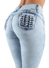 Women's Juniors Colombian Design, Butt Lift, Push Up, Mid Waist, Skinny Jeans - DJ3223