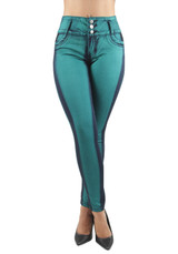 Women's Juniors Colombian Design, Mid Waist Butt Lift, Push Up, Skinny Jeans - 9W746S