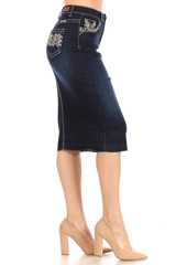 Women's Juniors/Plus Size Calf - Length Pencil Stretch Denim Skirt - 77851-SKT