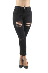 Women's Juniors Butt Lift Push Up Mid Waist Ripped Cropped Skinny Jeans - 90205