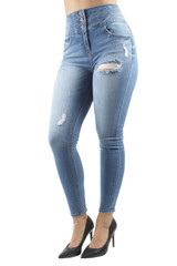 Women's Juniors Triple Stack High Waist Ripped Distressed Corset Skinny Jeans - 90228