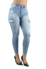Women's Juniors High Waist Ripped Distressed Cargo Skinny Jeans - 90229