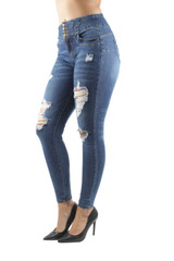 Women's Juniors Butt Lift Push Up High Waist Ripped Distressed Skinny Jeans - 90190