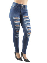 Women's Juniors, Butt Lift, Push Up, Mid Waist, Ripped Distressed Skinny Jeans - L228