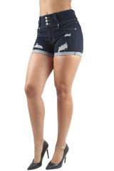 Women's Juniors, Butt Lift, Destroyed Ripped, High Waist, Booty Shorts - DSJ-S1041-SH