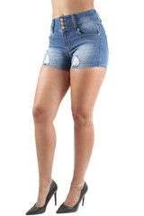 Women's Juniors, Butt Lift, Destroyed Ripped, High Waist, Booty Shorts - DSJ-S1097-SH
