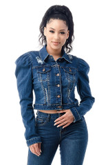 Women's Juniors Premium Denim Long Puffed Sleeves Ripped Distressed Jacket - JKT-114