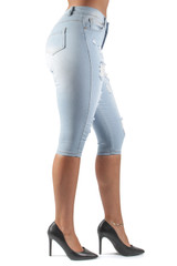 Women's Juniors, Destroyed Ripped, Stretch Denim, Capri Shorts - DSJ-C1055
