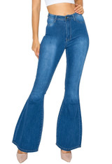 Women's Juniors Bell Bottom High Waist Flared Bootleg Jeans - BC-00