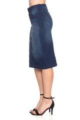 Women's Juniors/Plus Size High Waisted Shaping Pull-On Stretch Denim Mid Length Skirt - 77104-SKT