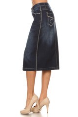 Women's Juniors/Plus Size Calf - Length Pencil Stretch Denim Skirt - 77410-SKT