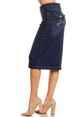 Women's Juniors/Plus Size Calf - Length Pencil Stretch Denim Skirt - 77517-SKT