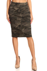 Women's Juniors/Plus SizeHigh Waisted Shaping Pull-On Stretch Twill Mid Length Skirt - 77600-SKT