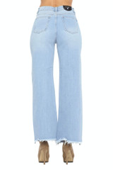 Women's Juniors High Rise Ripped Destroyed Straight Wide Leg Jeans - JP0757-WD