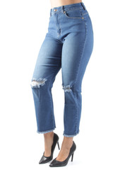 Women's Juniors Mom-Fit High Waist Ripped Destroyed Straight Leg Jeans - T2139