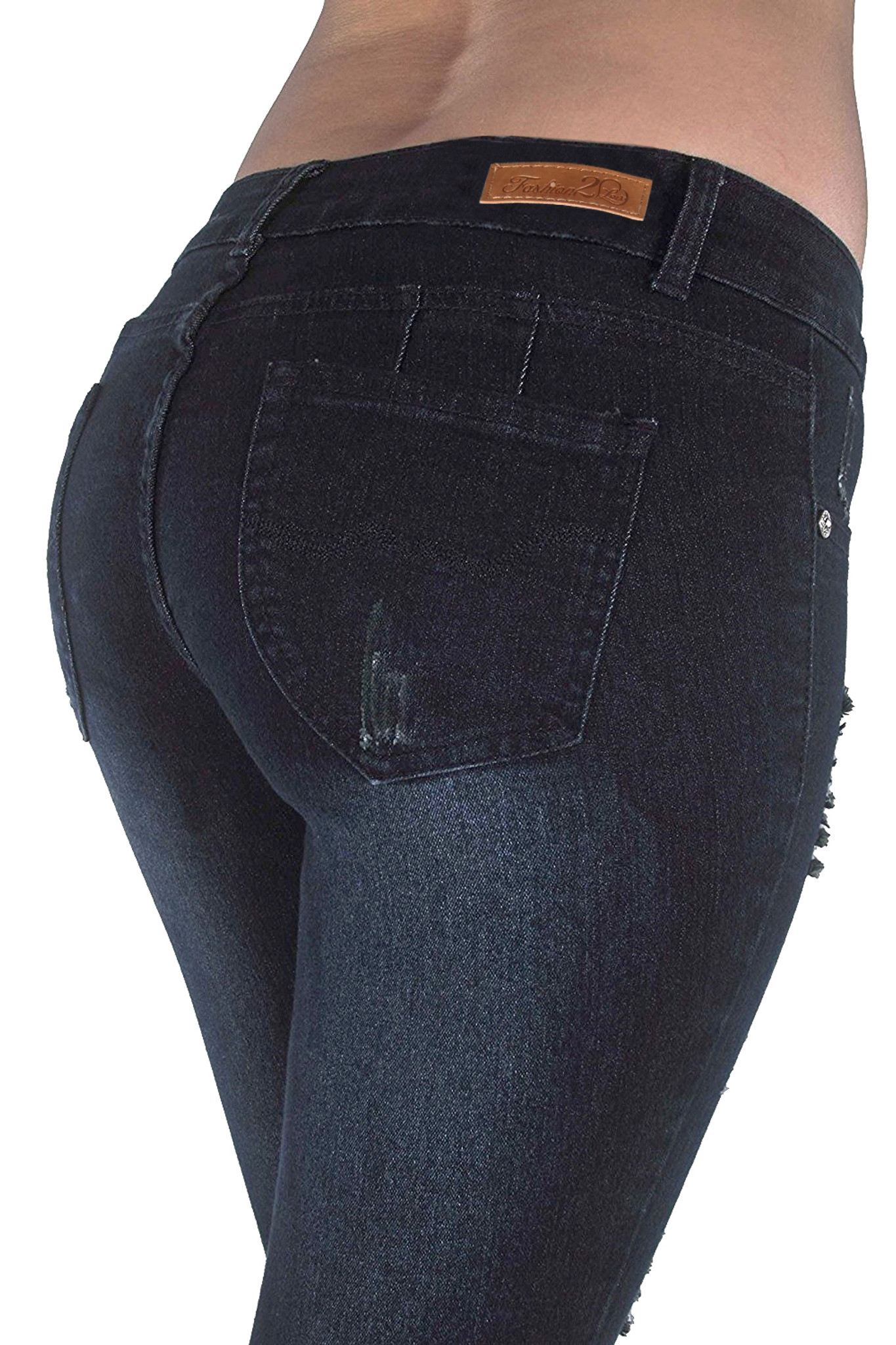 Style M486P – Plus Size Mid Waist Colombian Design Butt lift Ripped Skinny Jeans