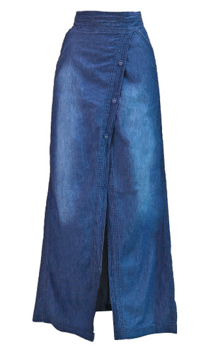 Womens Juniors Long Light Denim Slit Maxi Skirt - N1405-SKT