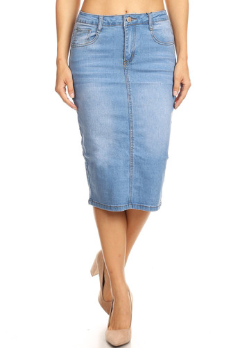 Womens Plus/Juniors Mid Waist Below Knee Length Denim Skirt in Pencil Silhouette - SKIRT613B