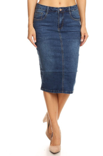 Women's Juniors Mid Waist Below Knee Length Denim Skirt in a Pencil Silhouette - SKIRT613B