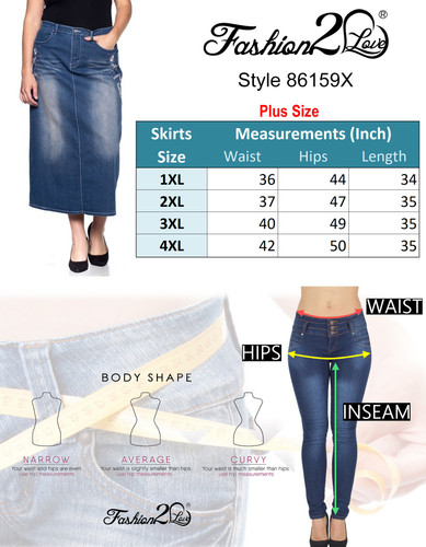 Women's Plus Size Mid Rise A-Line Long Jeans Maxi Denim Embroidered Skirt - 86159X