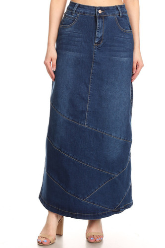 Women's Plus/Junior Size High Rise Pencil Long Jeans Maxi Denim Skirt - 242SK