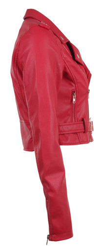 Women's Juniors Fashionable Cropped Faux Leather Moto Biker Jacket - 13281-PUD