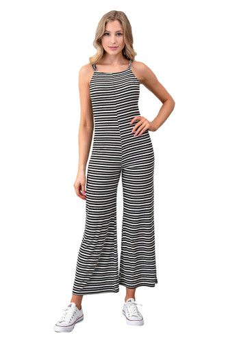 Women's Juniors Striped Spaghetti Straps Scooped Back Wide Leg Jumpsuit Overalls - RR34818S