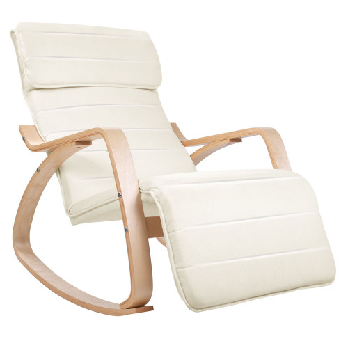 Adjustable Rocking Lounge Arm Chair w/ Fabric Cushion Beige