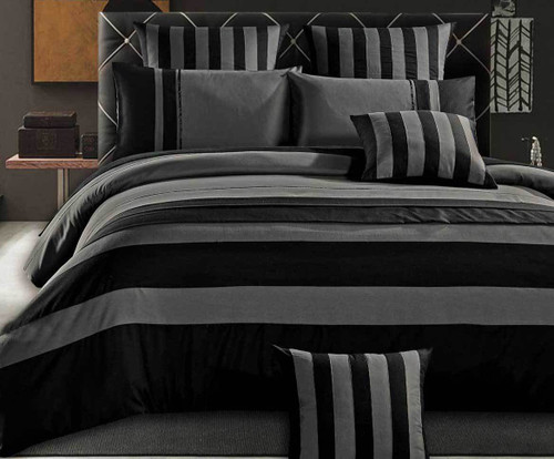 Queen Grey Black Sriped Quilt Cover Set