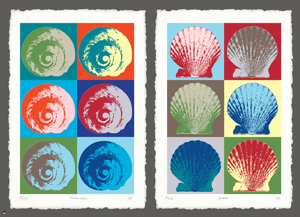"""She sells seashells by the seashore..."" Shells come in all shapes and sizes, each with a story to tell. The scallop shell is traditionally a symbol of solidarity for Pilgrims on their journey; the moon snail – round, short-spined and smooth – inspires the shell seeker to look inward. Each shell arrives on the beach, whether via gentle, rolling surf or tumbling, raucous waves, to share its unique tale of survival or lesson from nature.  Puzzle art by Julie Pritchard. Here she conceives the moon snail and scallop in the printmaking tradition of Andy Warhol – all exaggerated colors and interesting contrasts, inspired by nature.   Puzzle size is 26.625"" x 19.25"", 750 pieces."