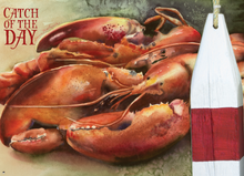Original watercolor painting of red lobsters, cooked and ready to enjoy.