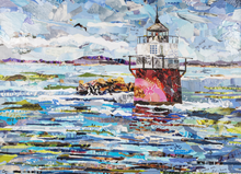 Duxbury Pier Light, interpreted in collage, is the oldest offshore cast-iron caisson lighthouse in the United States.
