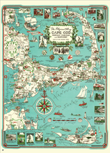 The Pilgrim Map of Cape Cod, Martha's Vineyard, and Nantucket is a mid-century, hand-drawn map featuring the Pilgrim's progress along the Cape as well as lots of historical detail around places, events, and people throughout the Cape and Islands, Plymouth, and Duxbury. In vintage colors, the fun illustrations and notations run from the familiar to the obscure.
