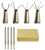 4Pc Jewelers Pick Up Tool Set in a Wooden Box: Different Prongs