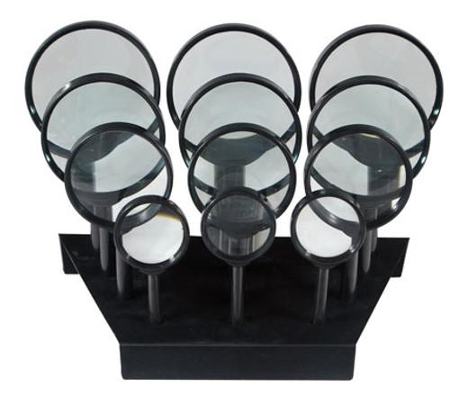 12Pc Hand Held Magnifiers Display : Power: 6.45x, 3x, 3x, 2x