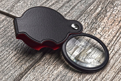 "Folding Glass Magnifier 5X 2"" Lens"