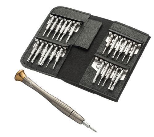 Precision Screwdriver Chrome Vanadium Steel Set and Folding Organizer Pouch (25 Piece)