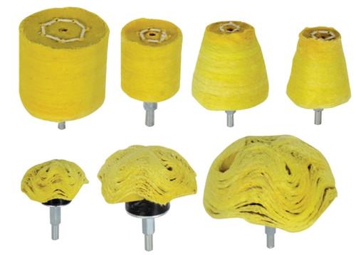 "7PC 1/4"" Shank Assorted Cloth Buffs Yellow"