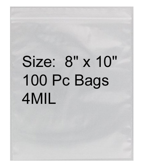 "4mil Heavy Duty Zip Lock Baggies 8""X10"""