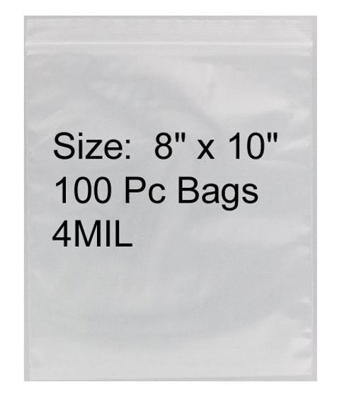 "4mil Heavy Duty Zip Lock Baggies 8""X10"""