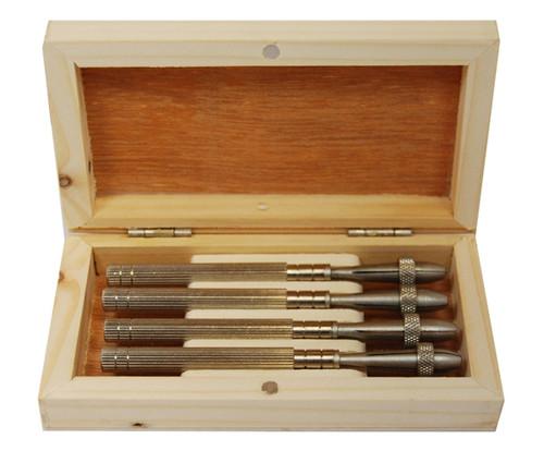 4Pc Brass Body Sliding Pin Vise Chuck in Wooden Box