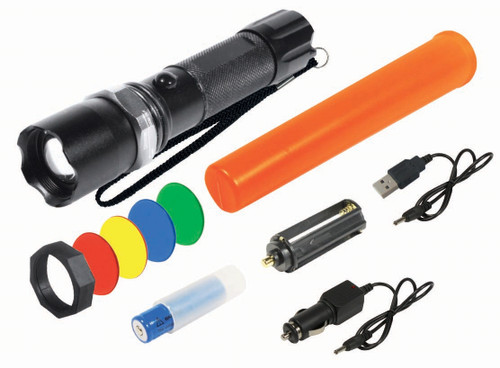 Rechargeable 5 Watt Led FlashLight With Filters 285-300 Lumens
