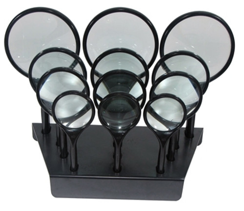 12Pc Curved Hand Held Magnifier Display Set : Power: 6.45x, 3x, 3x, 2x