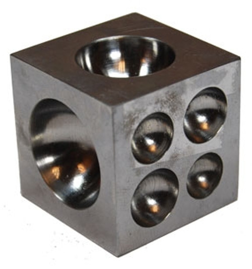 17 Round Cavities 1-1/2 x 1- 1/2 x 1-1/2 Dapping block with Cavities